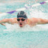 Senior David Peck in the middle of a butterfly stroke during a meet.