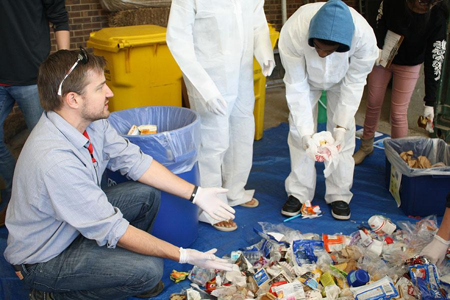 Students conduct waste audit