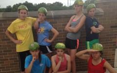 Girls track participates in a watermelon run