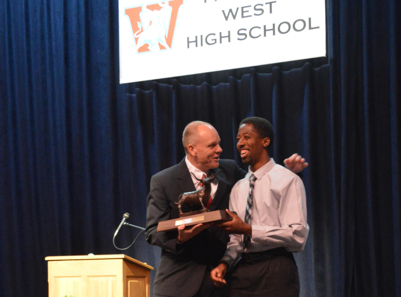 Principal Jeremy Mitchell awards senior Nehemiah Colyer the 2017 Founders Award recipient. The Founder's Award is given to a student who exemplifies what West students stand for: good character, academics, school spirit and is the highest school honor.