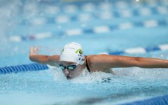 Freshman Gabby Vieira swims the 100-meter butterfly event, at the Central Municipal Pool in Cape Girardeau, MO.