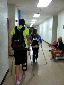 Crutching along