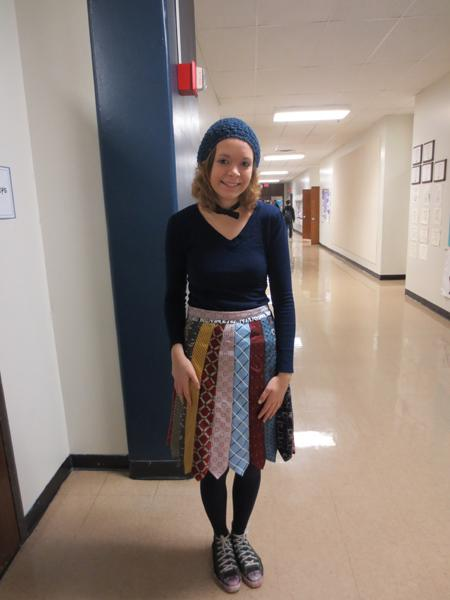 Senior Jasmine Krueger makes and designs most of her clothes. This is a skirt she made out of ties.