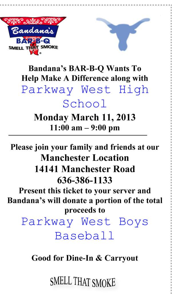 Join+the+Parkway+West+Baseball+team+at+Bandana%27s+Bar-B-Q+Monday%2C+March+11.