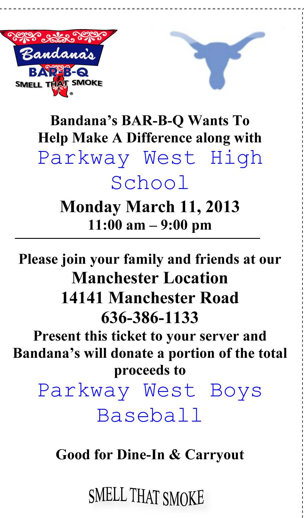 Join the Parkway West Baseball team at Bandana's Bar-B-Q Monday, March 11.