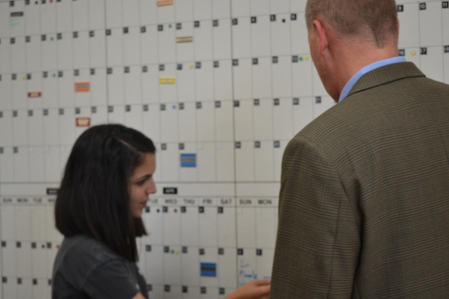 Principal+Jeremy+Mitchell+and+Yasmin+Younis+discuss+options+for+senior+finals+scheduling.