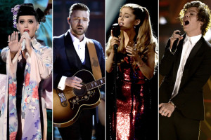 Katy Perry, Justin Timberlake, Arianna Grande and Harry Styles preform at the 2013 American Music Awards