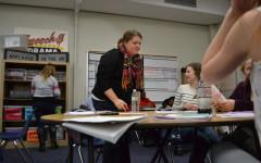 Drama teacher Amie Gossett instructs her students.