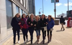 Members of the FACS Club walking the street of Chicago