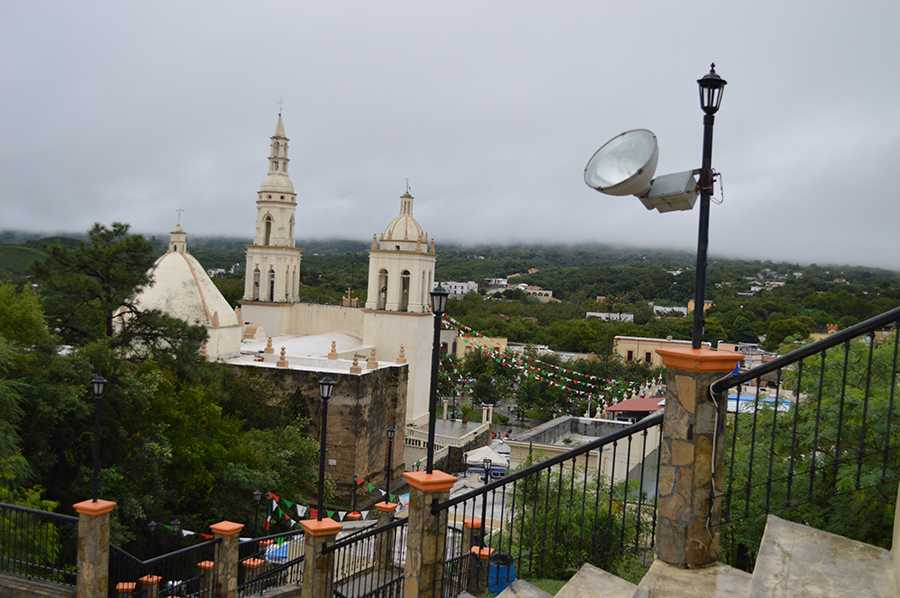 The+Santiago+Cathedral+in+the+Santiago+Village%2C+Monterrey%2C+Mexico.+The+students+got+a+panoramic+view+of+the+whole+town.+Despite+the+cloudy+day%2C+there+were+ribbons+everywhere+for+Independence+Day.