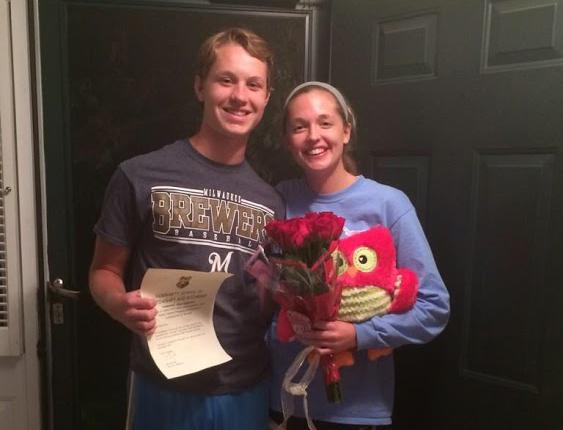Along with his rewritten 'acceptance letter to Hogwarts', Sophomore Nick Wotruba completes the package with a stuffed owl as he asks Grace Folkins, sophomore, to Homecoming.