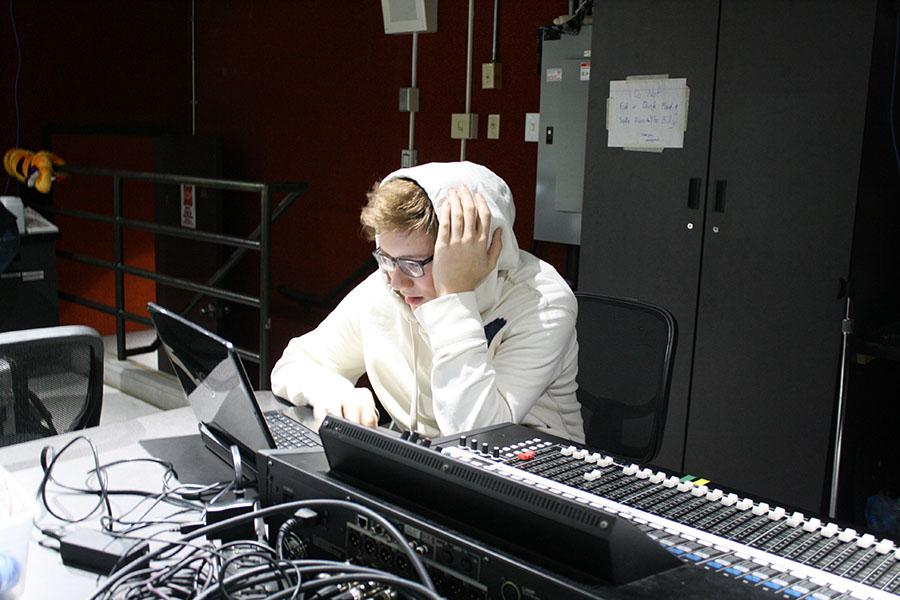 """""""I normally work the sound board and stuff for plays,"""" senior Will Sexton said. """"I have to edit sounds and sample them to make sure that everything sounds as realistic as possible. It's really easy for things to go wrong so I get really stressed."""""""