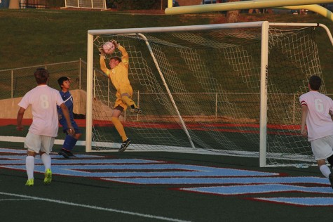 Sophomore goalkeeper Andrew Engelmeyer makes a save in the win against Ladue.