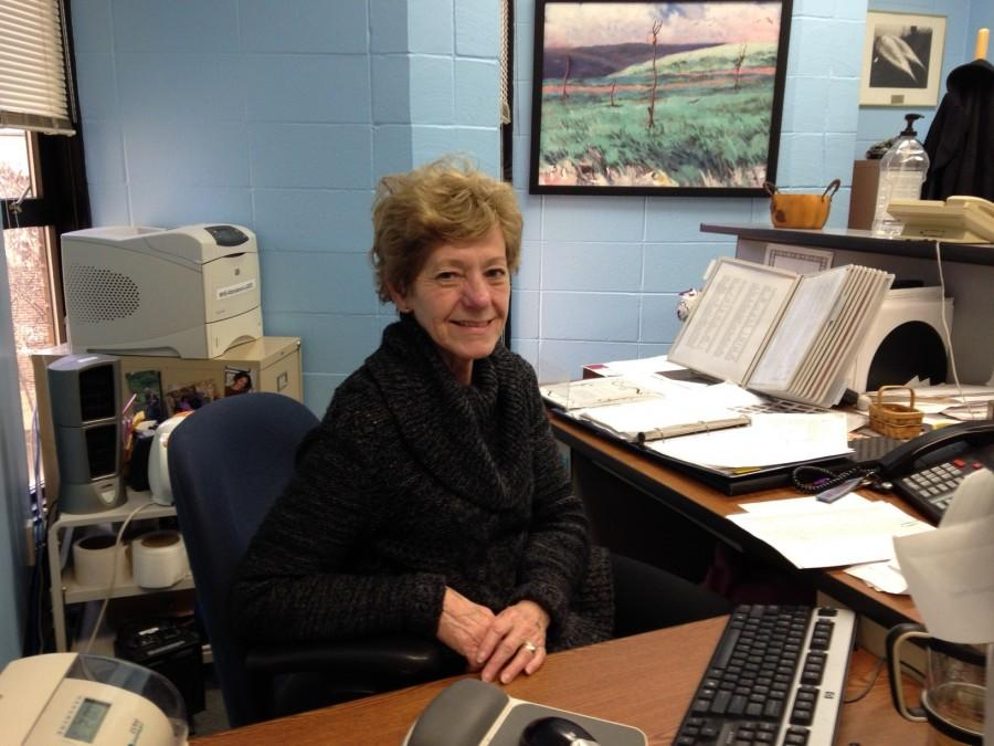 Attendance+secretary+Ann+Lehman+works+diligently+behind+her+desk.+