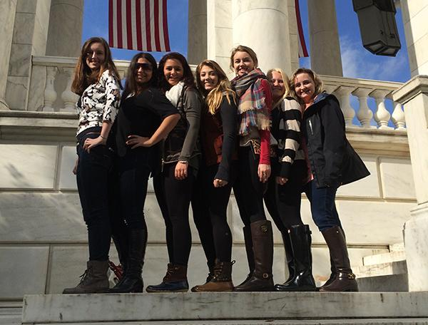 After watching the Changing of the Guard,the publications staff, sophomore Ritoma Ganguly, juniors Sarah O'Beirne, Bailey Rathert, Molly Sewester, Katie Hornsby, Megan Barton and senior Kappy Pille, stand before the Arlington Memorial Amphitheater.