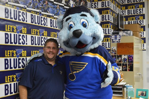 Math Teacher receives visit from Louie and the Blues