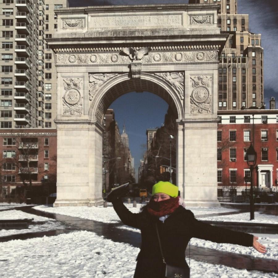 During her NYU visit, senior  Ela Sutcu enjoys the big city experience.