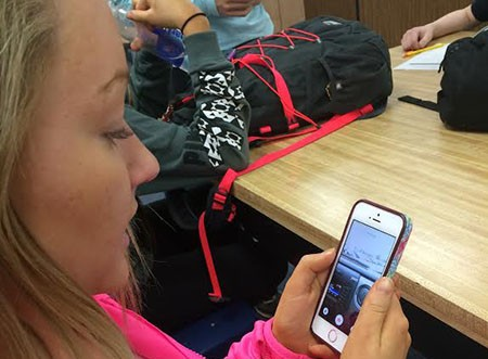 Junior Maret Welby uses the app Swipe. Swipe allows users to post pictures or videos anonymously.