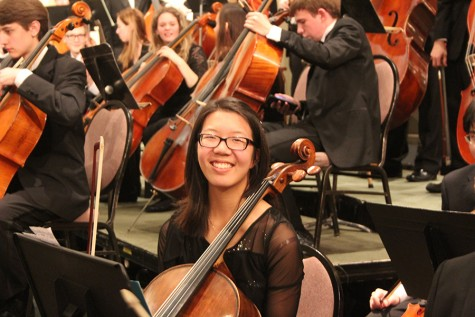Junior Rebecca Su sits with the All-State Orchestra ensemble prior to their performance at the Missouri Music Educator's Association Conference.