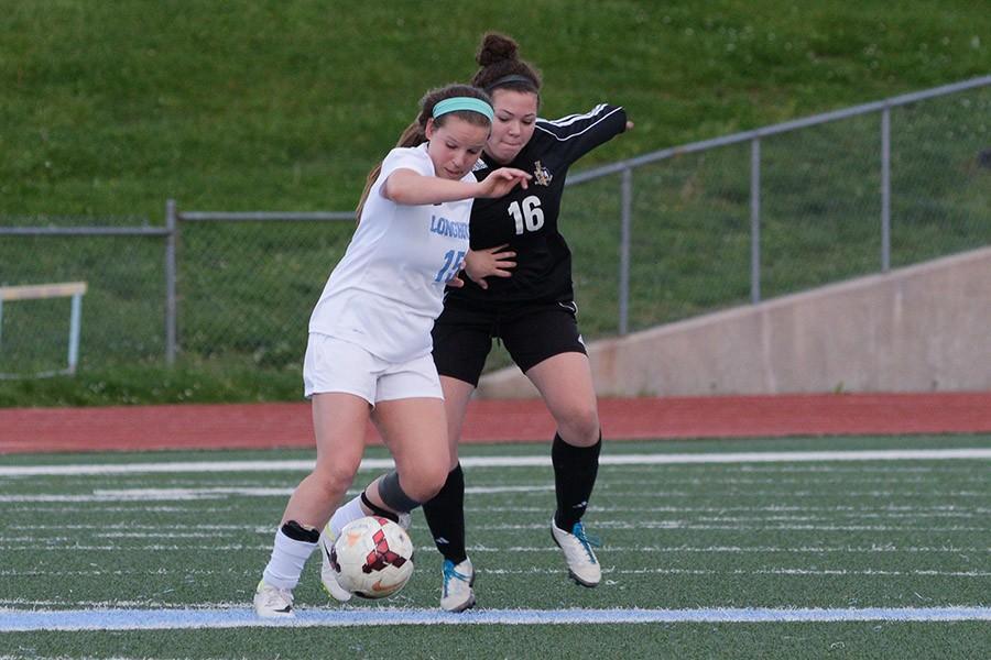 Defeating Fort Zumwalt 5-0, junior Lindsey Anstine plays midfielder.