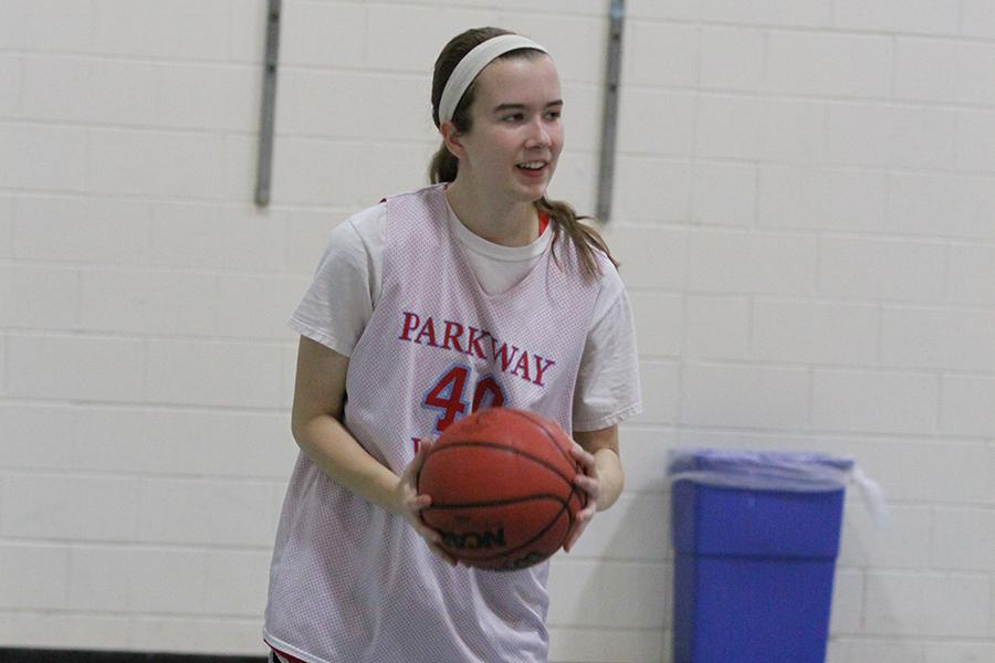 Catching the ball and looking to pass in practice, Stanfield gets the chance to spend some time on the court instead of the sideline earlier this year. Stanfield has spent four months with Petersen out of her four on the team due to the strained quad.