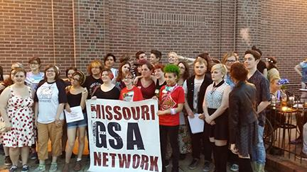 AJ McNamee and other winners of the 20 Under 20 Award celebrate at Missouri GSA's Night of Noise.