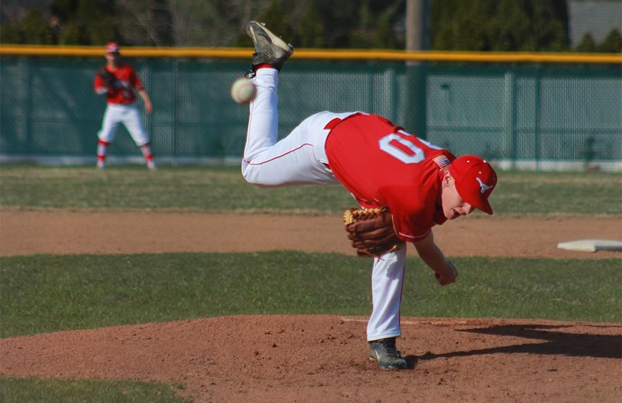 Sophomore pitcher Andrew Engelmeyer gets the 14-4 win against Parkway North on March 30.