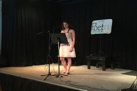 Attending the Beverly Hopkins Poetry reading, sophomore Rachel Griffard reads her poem