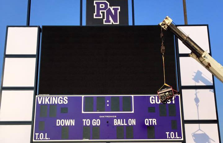 Finishing touches are being added to the Parkway North scoreboard before it debuts Friday, Sept. 11.