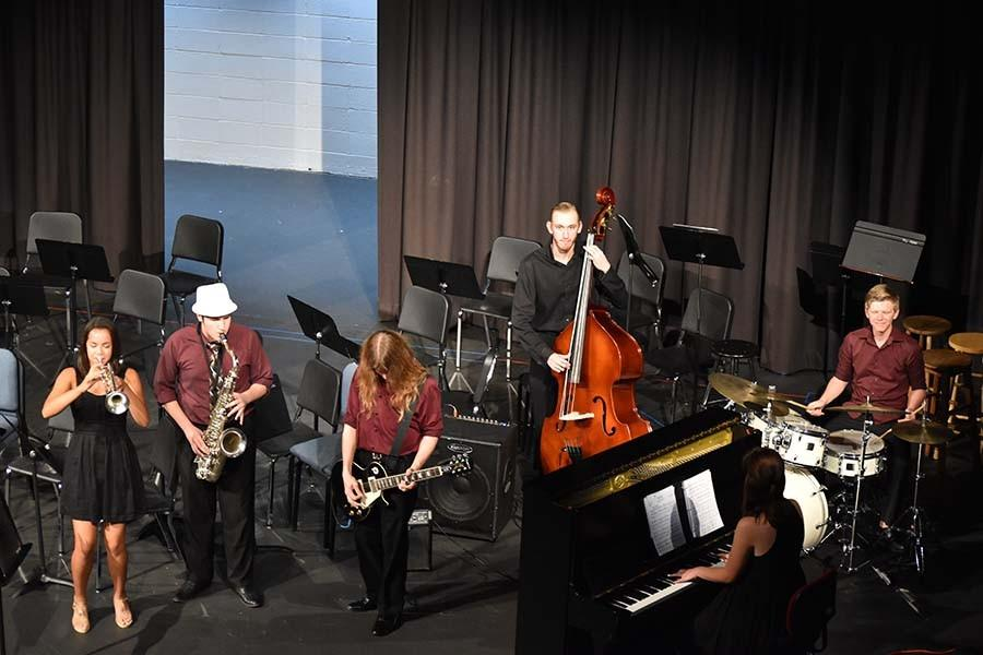 Cosmic Latté, the official West jazz band comprised of studio jazz students, starts their set at the Autumn Orchestra Concert with the song Blue Monk.