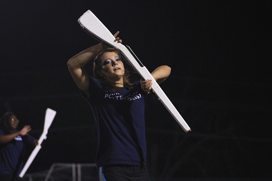 Senior Annika Fahs performs at a home football game on September 18th.