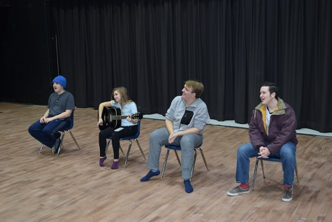 Studies of Music Theatre students junior Jake Barton, seniors Sidney Baker, Tristan Johnson and Tanner Caldwell rehearse their song for the Performance Showcase.