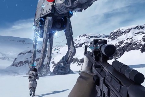 Sihn Rossi and Alex Rossi battle in the game against a giant AT-AT.