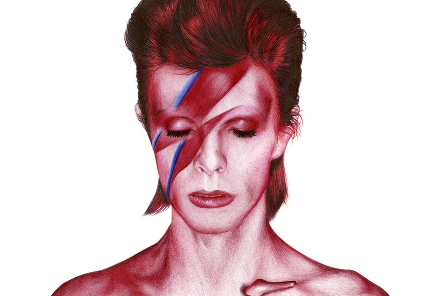 The cover of one of Bowie's most recognizable albums, Aladdin Sane.