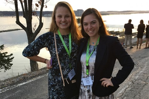 Ava Larsen and Rachel Friedman pose together before the competition.