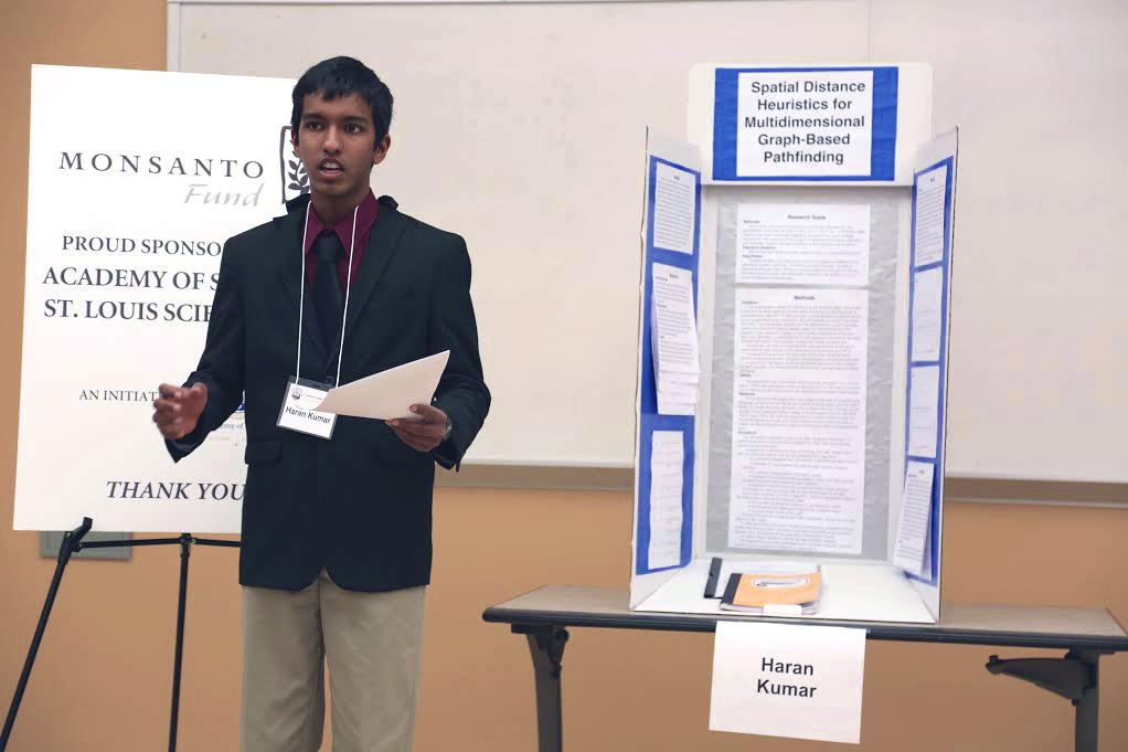 Kumar presents his research to the board during the judging panel. The young computer programmer had to face two rounds of rigorous judging before being awarded second place.