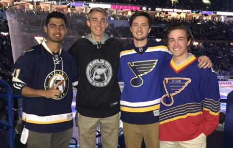 Seniors Matt Pilgrim, Collin Basler, Nick Balestra and Hasan Baig enjoy Game 1 of the Blues vs. Blackhawks playoff series.