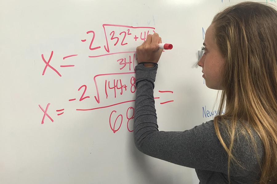 At 6:45 a.m., freshman Natalie Butler prepares for her Honors Geometry final.