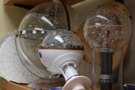 Celestial globes sit in Coleen O'Toole's astronomy classroom.