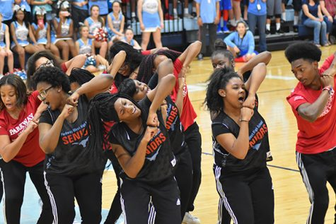 The step team performs at the homecoming pep rally.