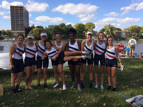 SLRC rowers stand at the Head of the Rock in Rockford, Illinois, where they won their gold medal of the season on Oct. 9.