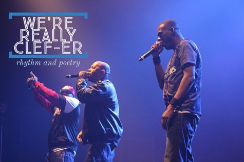 A photo of the group Wu-Tang Clan in concert