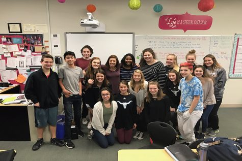 Publications Adviser Debra Klevens poses for the Administrative Team with her fourth hour yearbook class after she was awarded Teacher of the Year.
