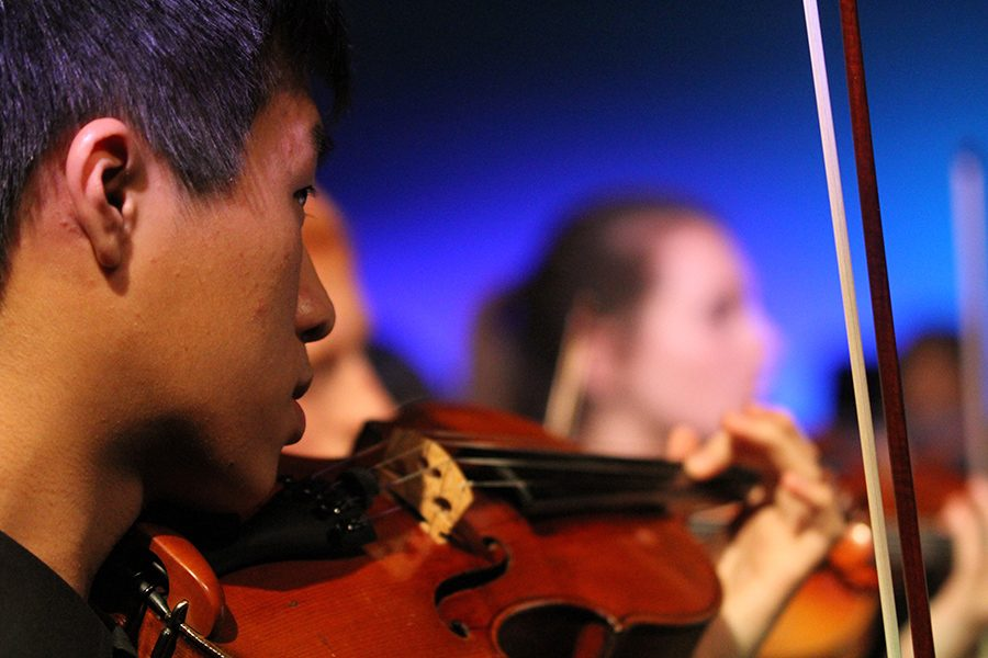 Sophomore Jason Wan performs at the fall orchestra concert.