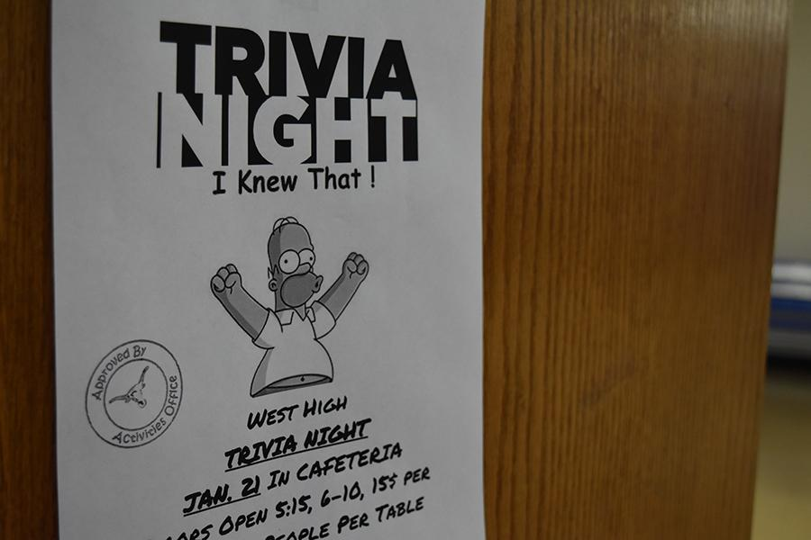Flyers featuring Homer Simpson advertise the Trivia night for Jan. 21.