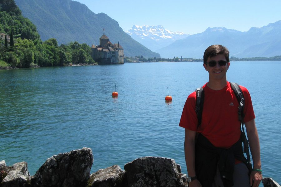 During a break from performing, June 23, senior Connor Brunig poses for a picture in Switzerland.