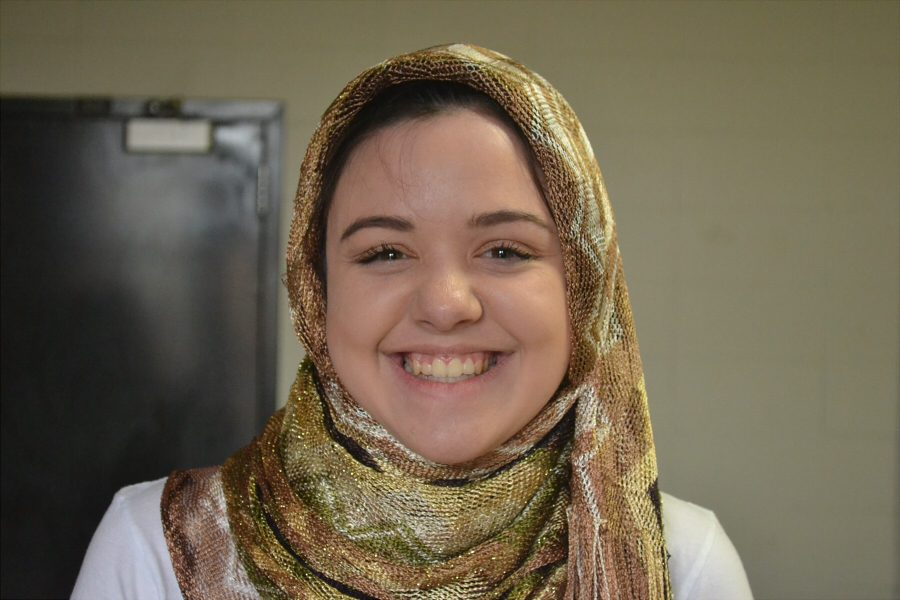 Junior Katie Spillman wears the hijab, a religious symbol of modesty for Islam, on World Hijab Day.