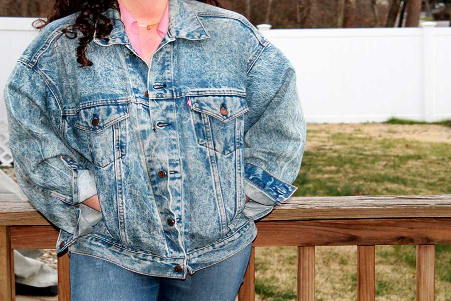 Leigh Ann poses in the vintage Levi's jacket.