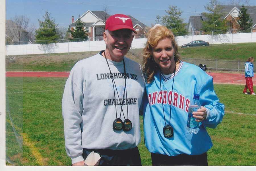 Coach Dale Shepherd and Coach Nancy Sachtleben prepare the 2008 Track team for an upcoming meet.