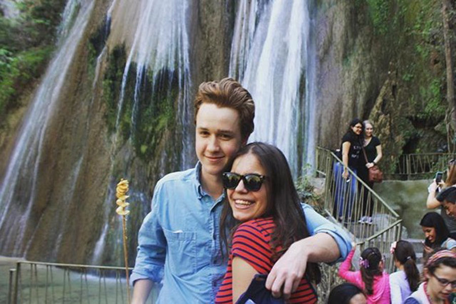 Senior Joe Fuller and his prom date Azu Faibani pose in front of a waterfall, the Cola de Caballo, in Monterrey, Mexico.